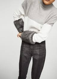 fur sweater faux fur sleeve sweater mango usa