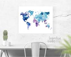 world map watercolor print letter and tabloid size png clip art