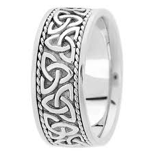 wedding band 14k white gold celtic knot roped engraved