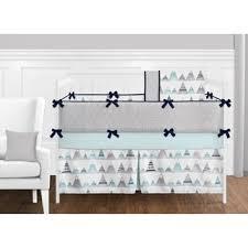 Unisex Crib Bedding Sets Sweet Jojo Designs Navy Blue Aqua And Grey Aztec Mountains