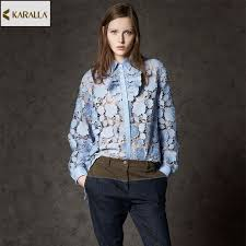 button blouses 2017 summer runway fashion hollow out button blouse