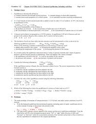 chemistry 122 chapter 18 19 pre test chemical equilibrium