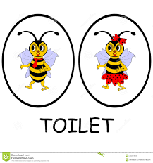 Man Woman Bathroom Symbol Man And Woman Restroom Signs Funny Cartoon Bees Stock Photos