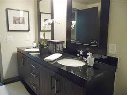 Walnut Vanity Double Sink Bathroom Vanity Ideas Rectangle Frameless Wall Mirror