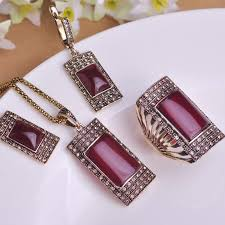 red necklace earring set images Vintage ruby jewellery sets antique gold plated square red jpg