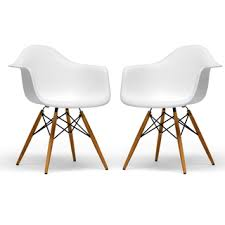 Overstock Armchair Retro Eames Style Molded Plastic White Armchair Set Of 2
