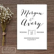 booklet wedding programs printable wedding program folding booklet four pages rustic