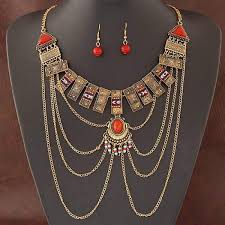 earring chain necklace images African jewelry sets multi chain necklace earring ethnic super big jpg