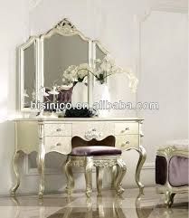 Mirrored Bedroom Bench Champagne Silver New Classical Bedroom Furniture Bed Night Stand