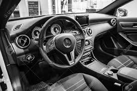 cars mercedes 2015 berlin january 24 2015 showroom interior of a compact car