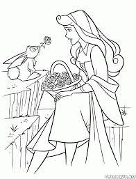Coloriage  La princesse Aurore et le lièvre