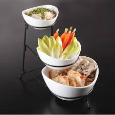 gibson elite gracious dining 3 tier bowl server set w metal stand