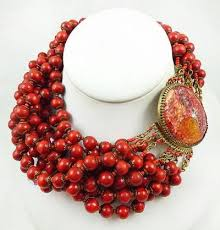 red crystal beads necklace images Ornella italy red beads torsade necklace garden party collection jpg
