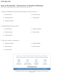 Health And Wellness Worksheets For Quiz Worksheet Dimensions Of Health Wellness Study Com