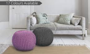 hand knitted ottoman pouf groupon