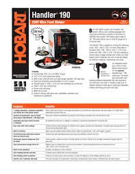 handler 190 hobart pdf catalogue technical documentation