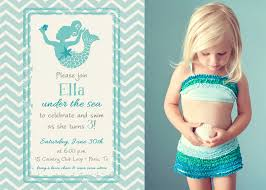 magical mermaid in chevron photo birthday invitation printable