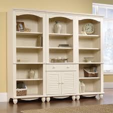 Sauder Harbor View Corner Computer Desk Antiqued White Finish Library Wall Bookcase In Antiqued White 158082 158085 3pkg