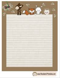 printable animal lined paper free printable cute woodland animals writing paper planners