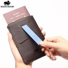 Designer Travel Card Holder Bison Denim Vintage Passport Holder Genuine Leather Men U0027s Travel