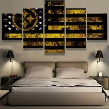 steelers home decor framed pittsburgh steelers american flag 5 pcs canvas wall art
