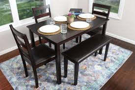 5pcs kitchen dining set bench leather chairs table breakfast