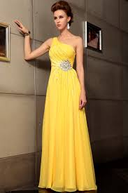 one shoulder yellow evening gown dresses 30711 buy wedding