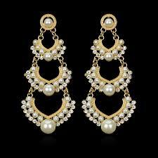 Chandelier Earrings India Indian Wedding Earring Chandelier Hanging Earrings Gold Color