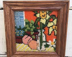 vintage needlepoint roses framed small cross stitch roses