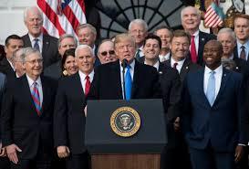 trump tax reform trump lavished with praise at tax celebration cnn video
