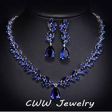 sapphire necklace set images Luxury cz simulated diamond women wedding jewelry royal blue jpg