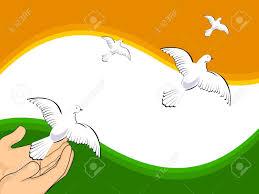 Indian Flag Cake Illustration Flying Pigeons On Indian Flag Colors Background