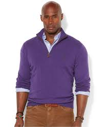 polo ralph lauren french rib half zip pullover sweater in purple
