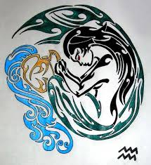 colored tribal aquarius tattoo design