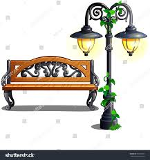 city bench under street lamp vector stock vector 372532657