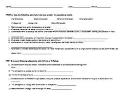 characterization and types of characters worksheet or test tpt