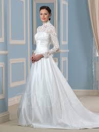 high waist wedding dress high neck empire waist sleeve lace bowknot wedding dress