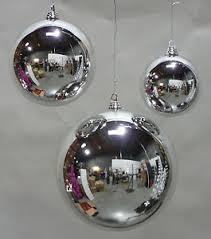 12 2 shiny silver 50mm balls plastic outdoor