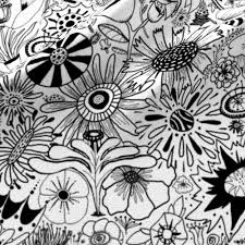black and white flower doodle fabric amy g spoonflower