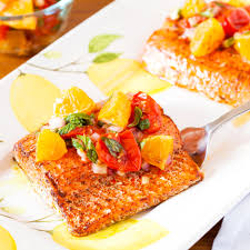 spicy salmon with roasted tomatoes and pixie salsa the pkp way