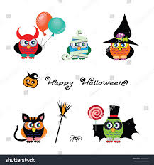 vector set cute owls dressed costumes stock vector 326256347