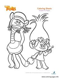 print cooper and poppy trolls coloring pages kolorowanki