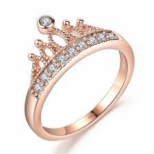 rose promise rings images Drole rose gold color crown crystal engagement cute wedding bands jpg