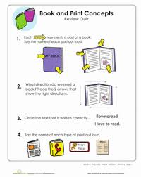 book and print concepts review quiz worksheet education com
