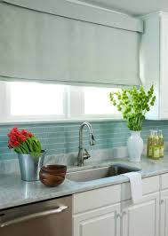 Blue Glass Kitchen Backsplash Gorgeous Subway Tile Backsplash With White Marble Countertops