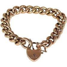 links bracelet rose gold images Lovely antique 9k rose gold curb link bracelet with heart lock jpg