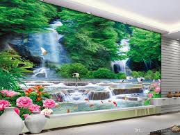 photo wall mural 3d stereoscopic waterfall landscape wallpapers photo wall mural 3d stereoscopic waterfall landscape wallpapers for living room tv backdrop chinese style wallpaper backgrounds wallpapers beach wallpaper