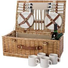 Wine Picnic Baskets Deluxe Picnic Basket For 4 Persons Including Cutlery And Crockery