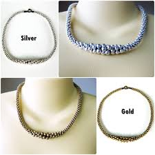 silver charm bead necklace images Elegant silver or gold beaded necklace charm handmade thailand jpg