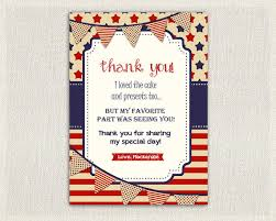 4th july birthday thank you card thank you note personalized